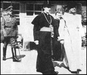 Catholic Archbishop Stepinac and Papal Nuncio Marcone with Nazi General