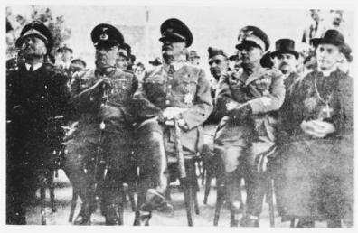 From left to right are General von Troll (Councellor of German Legation),General Gleise Horstenau, General Slavko Kvaternik (NDH),General Mario Roata (Italy) and Archbishop Stepinac