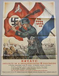 Nazi Croation poster - beating the Serbs