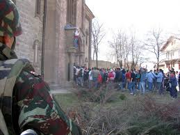 Kosovo NATO watch Albanians destroy Serbian Church