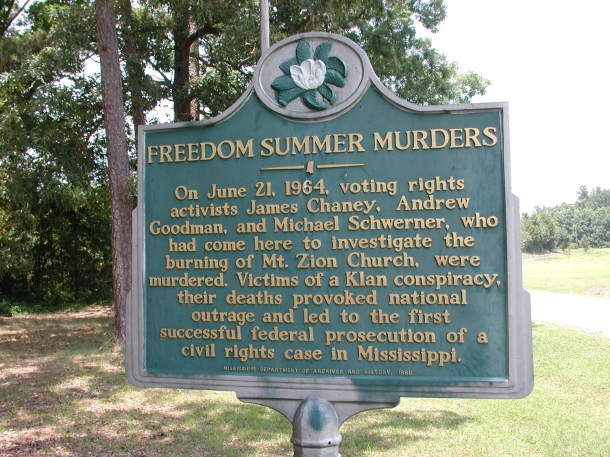Civil Rights Murders Mt__Zion_Methodist_Church_state_history_marker_in_Neshoba_County