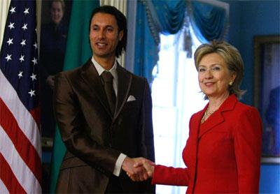 Hillary Clinton meets Gaddafi on Mutassim