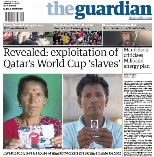 Qatar Slaves - Guardian headline