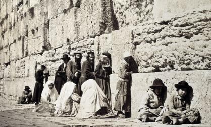 jewish-men-at-wailling-wall-vintage-photograph