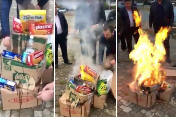 Serbian Products burned in Kosovo by albanians