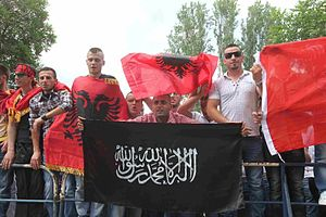 albanian protests with isis flag