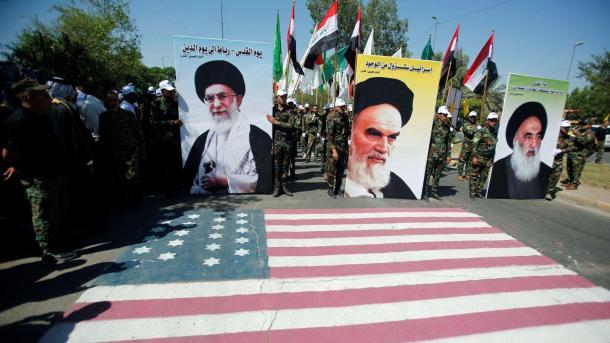 Iran Iraq US flag