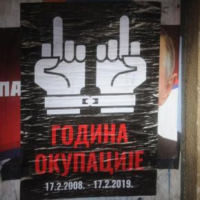 Posters appeared at dawn giving middle finger to Kosovo's illegal occupation by Albanian drug lords and terrorists