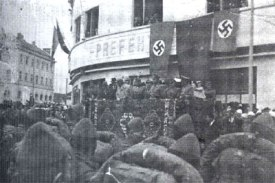 Kosovo Albanian Nazi SS Skanderbeg under banner