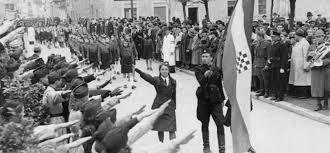 Croatia Nazi salute to flag