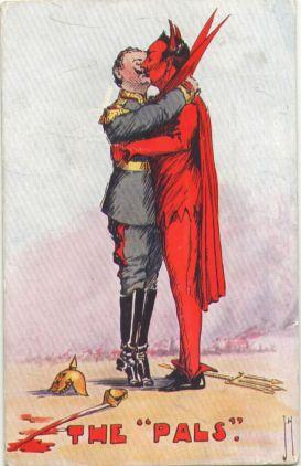 germany Kaiser wilhelm WW I postcard - kissing the devil