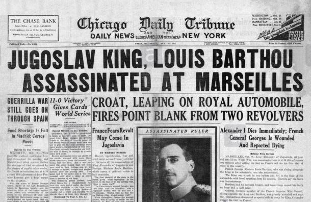 King Alexander Assasination Chicago Tribune 1934