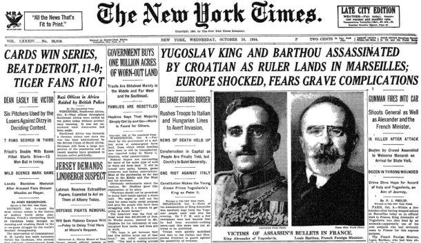 King Alexander Assasination NYTs 1934