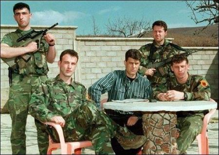 kosovo Hacim Thaci with KLA members Comandante cobra