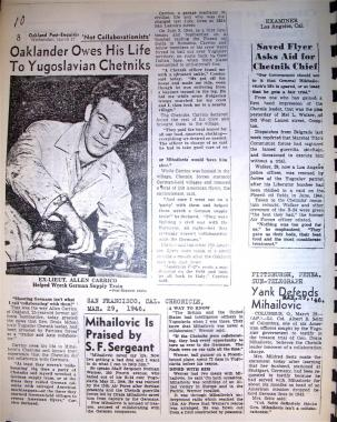 Serbian Chetniks newspaper clippings of rescue of American airmen