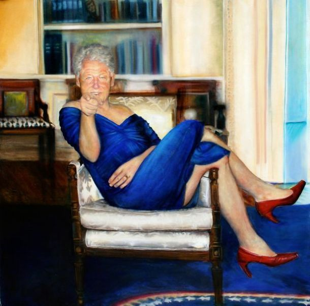 Clinton in blue dress painting