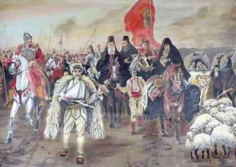 Serbian History - orthodox priests ride with soldiers