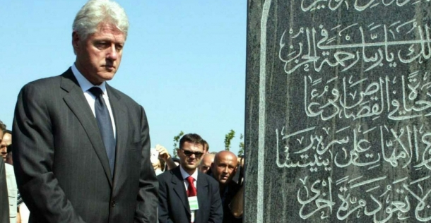 Clinton memorial to muslim terrorists in bosnia