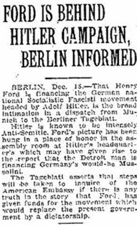 Ford Behind Hitler Campaign Newspaper Clipping