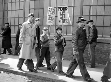Ford children protestors with signs - Ford Nazi - Hitler support