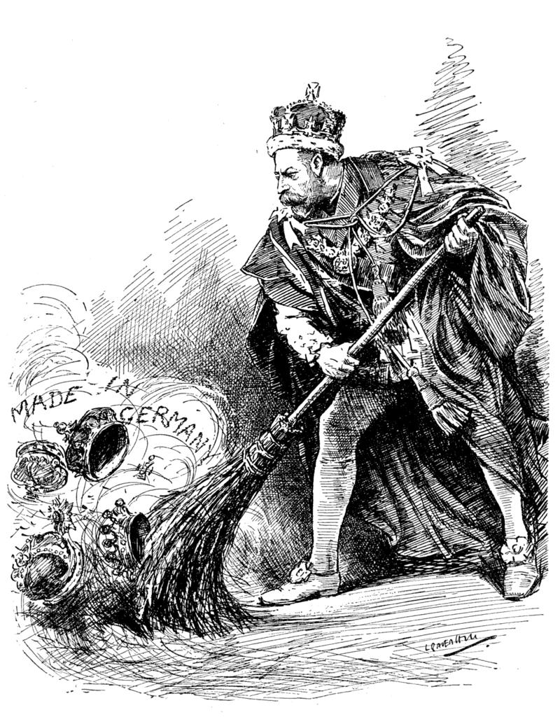 King George V cartoon sweeping german titles
