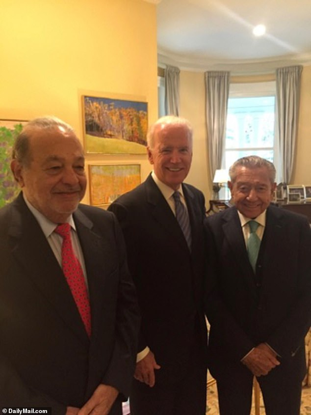 Biden with Carlos Slim and Miguel Alemán Velasco 2014 - in vice president's office
