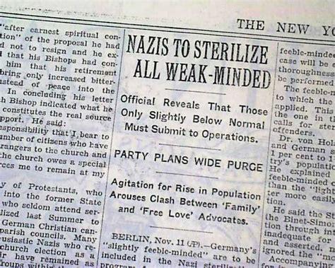 Nazis Eugenics - article Nazis to sterilize all weak-minded