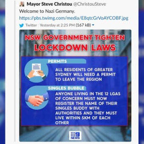 'Welcome to Nazi Germany': In now-deleted tweet, Sydney mayor compares strict new lockdown laws to Hitler-eraregime